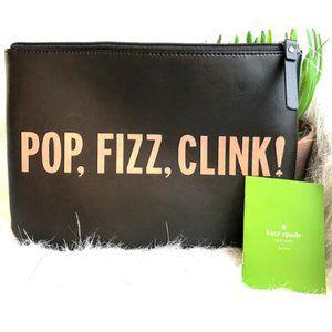 """Kate Spade """"pop, fizz, clink!"""" Soft Zip Bag"""